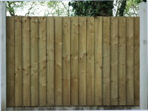 VCB or vertical close board fencing panel front view.